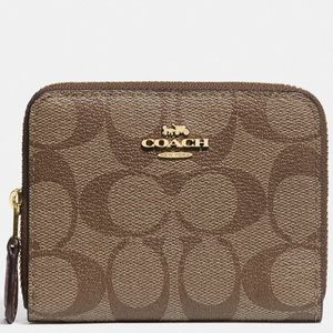 Coach NWT Signature Print Small Double Zip Wallet